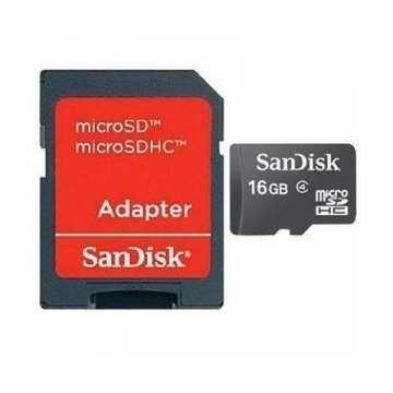 Flash карточка MicroSD SANDISK microSDHDC 16Гб + адаптер SD